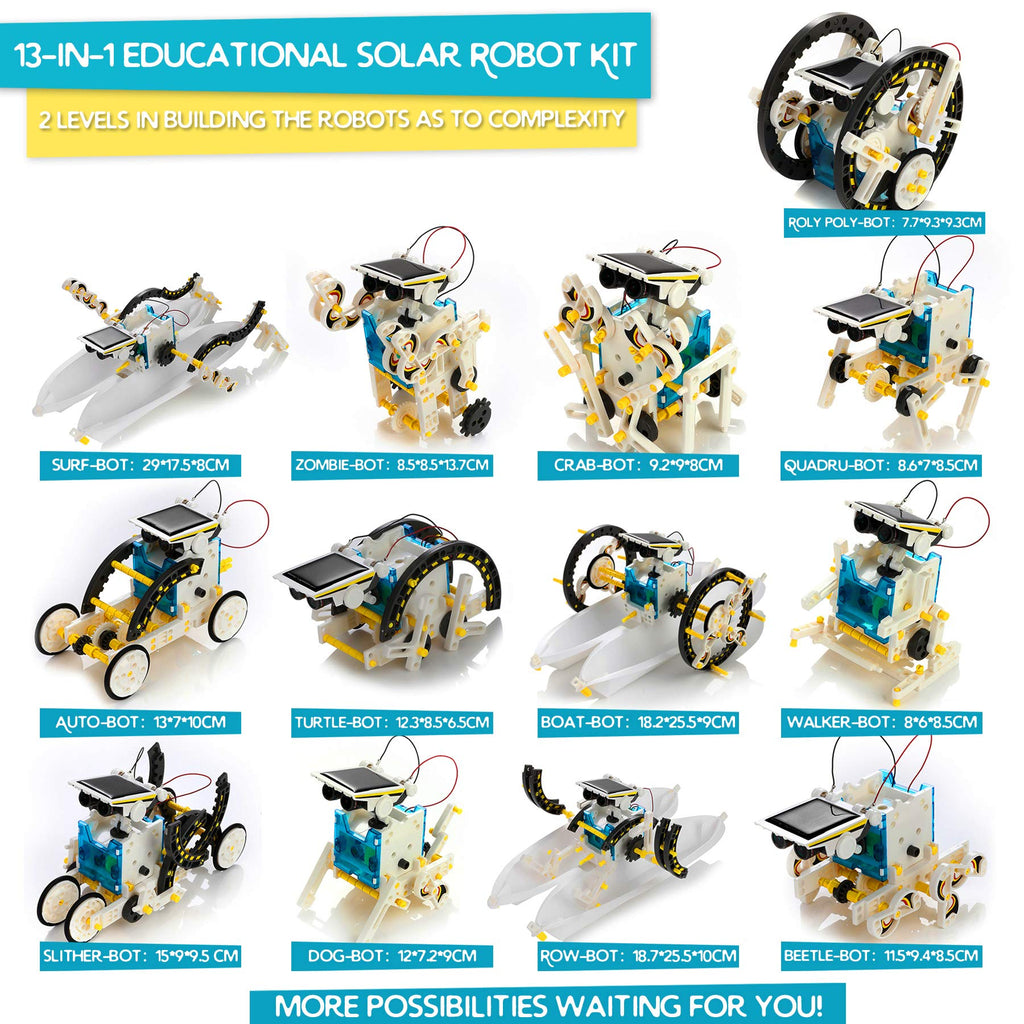 Kidwill 13-in-1 Educational Solar Robot Kit for Kids, STEM Educational Science Toy Solar Power Building Kit Puzzle DIY Assembly Solar Robotic Set for Kids, Teens and Science Lovers, Powered by the Sun