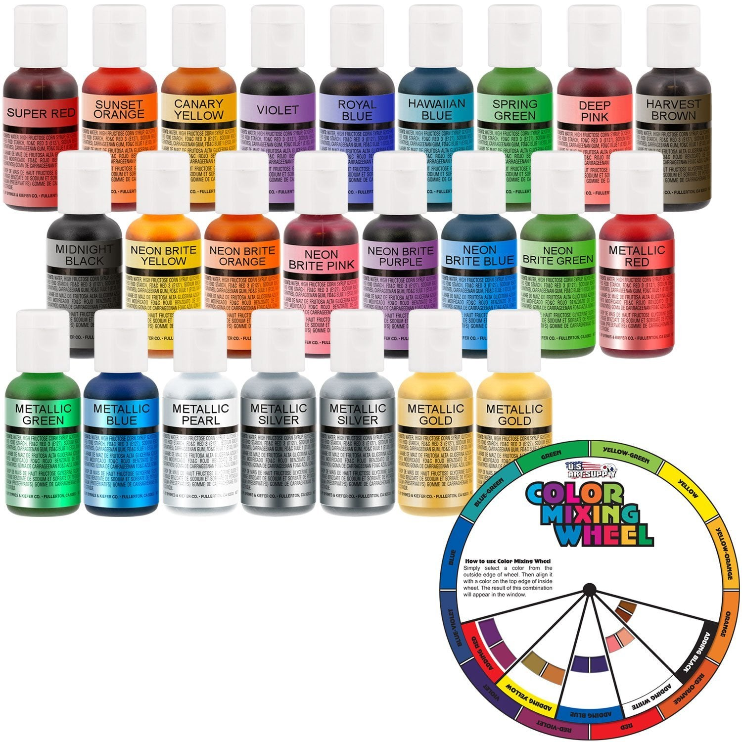 24 Color-US Cake Supply by Chefmaster Deluxe 24 Bottle Airbrush Cake Color Set - The 22 Most Popular Colors in 0.7 fl. oz. (20ml) Bottles Bonus Color Mixing Wheel