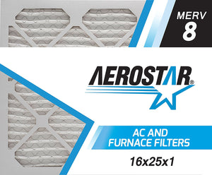 Aerostar Pleated Air Filter, MERV 8, 16x25x1, Pack of 6, Made in the USA