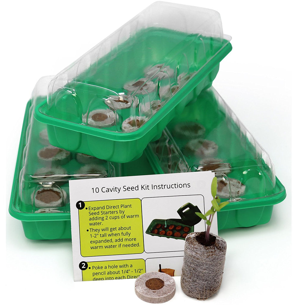 Seed Starting Kit – Complete Supplies – 3 Mini Greenhouse Trays with Dome fits /