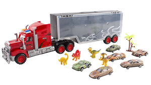 "21"" Toy Semi Truck Dinosaur Kids Mega Truck Trailer Transport Carrier Semi Truck 6 Toy Cars 4 Dinosaur's"