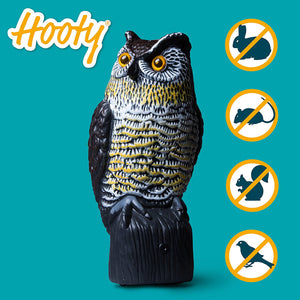 "Updated Scarecrow Owl Decoy Pest Repellent - ""Hooty"" Motion Activated Solar"