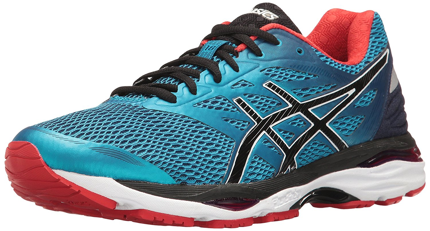 ASICS Mens Gel-Cumulus 18 Running Shoe, Island Blue/Black/Vermilion, 9 M US