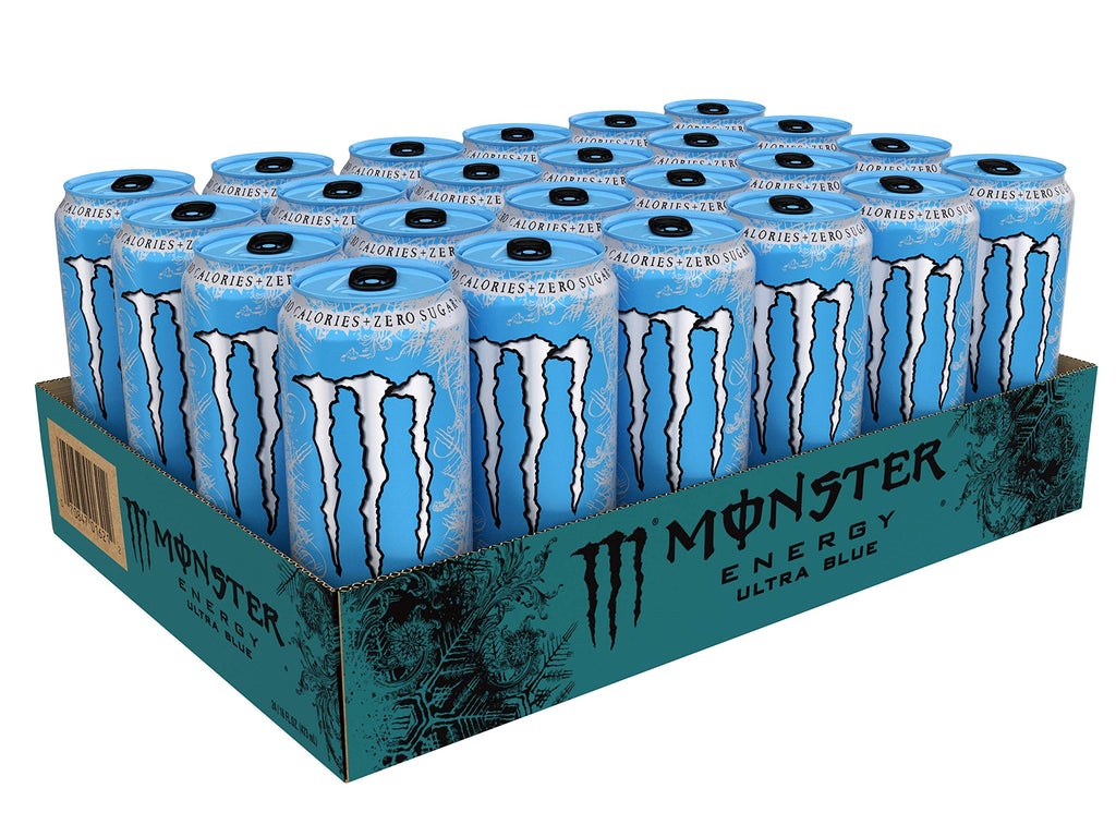 Monster Energy Ultra Blue, Sugar Free Energy Drink, 16 Ounce (Pack of 24)
