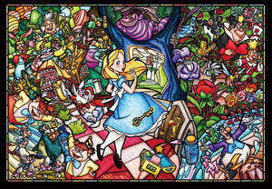 500 piece jigsaw puzzle stained art Alice in Wonderland story stained glass tigh