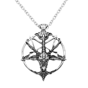Inverted Pentagram, Goat Head Necklace