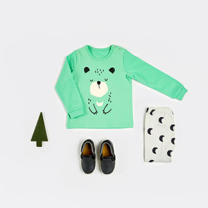 Green Cozy Bear Korean Long Sleeve Pajamas for Toddler Girls and Boys 12M-3T - Bonjour Bear