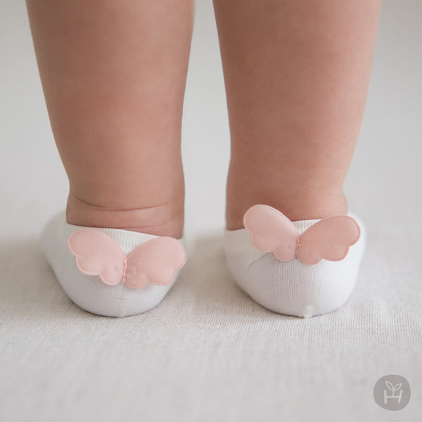 Baby Girl's Ivory White Thin Breathable Cooling Socks with Pink Angel Wings - Bonjour Bear