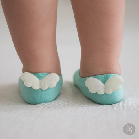 Baby Girl's Mint Green Thin Breathable Cooling Socks with White Angel Wings - Bonjour Bear