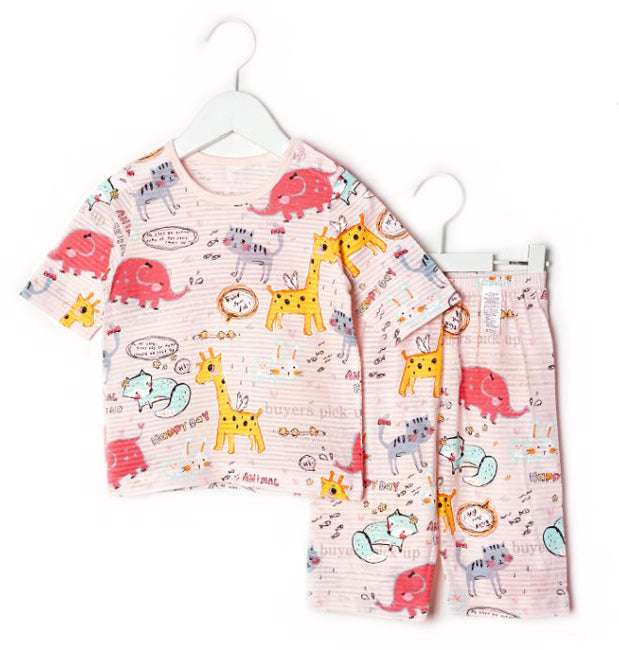 Pink Animal Drawings Thin Lightweight Summer Short Sleeve Korean Pajamas for Toddler Girls 1-3 Years Old - Bonjour Bear