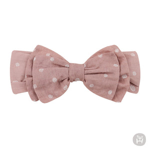 Pink Ribbon Bow Hairband with White Polka Dots for Baby Girls 3-18 Months - Bonjour Bear