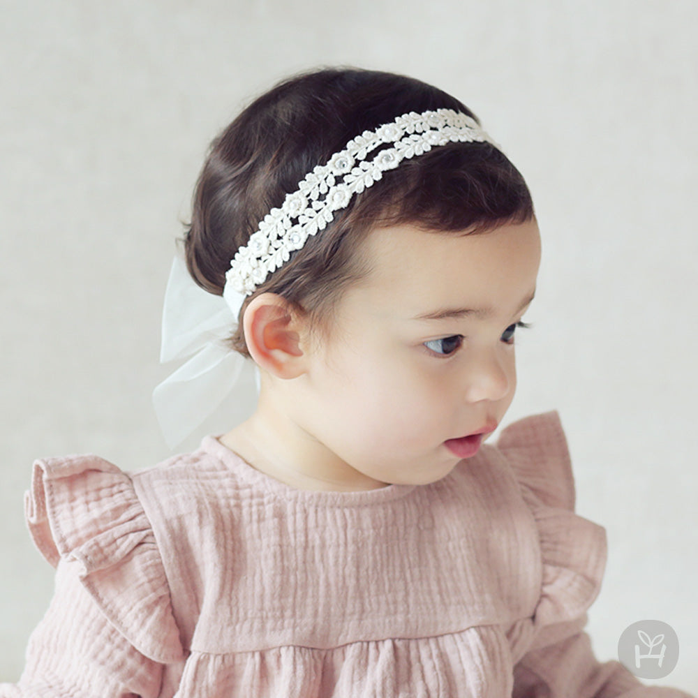 White Floral Lace Hairband with Chiffon Ribbon for Baby Girls 3-12 Months - Bonjour Bear