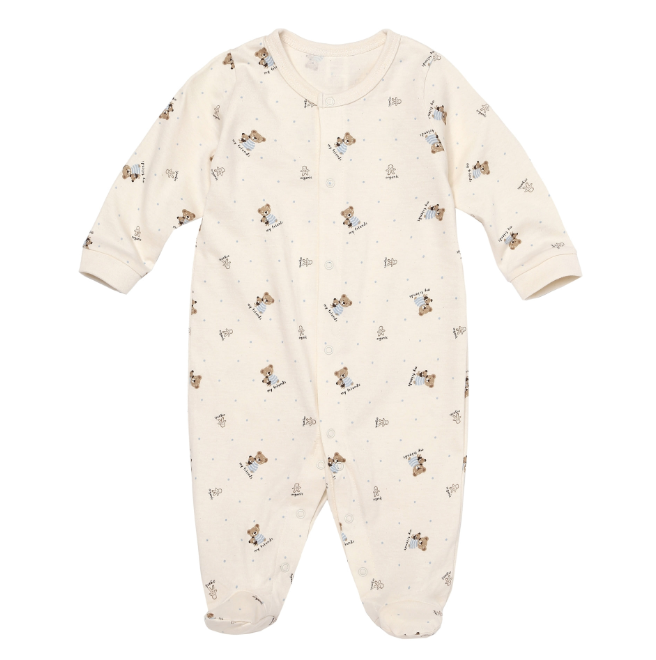 Newborn Baby Bear Friend Organic Button Down Footed Korean Onesie - Bonjour Bear