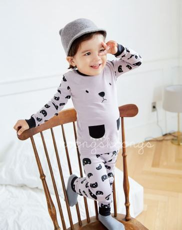 Gray and Black Beary Cute Long Sleeve Korean Pajamas for Toddler Girls and Boys 1-3 Years - Bonjour Bear