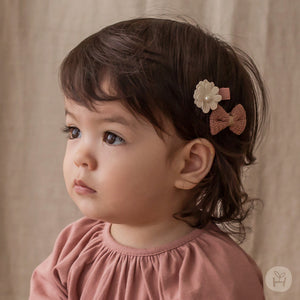 Infant and Toddler Belita Flower Bow Hairpin Set - Happy Prince