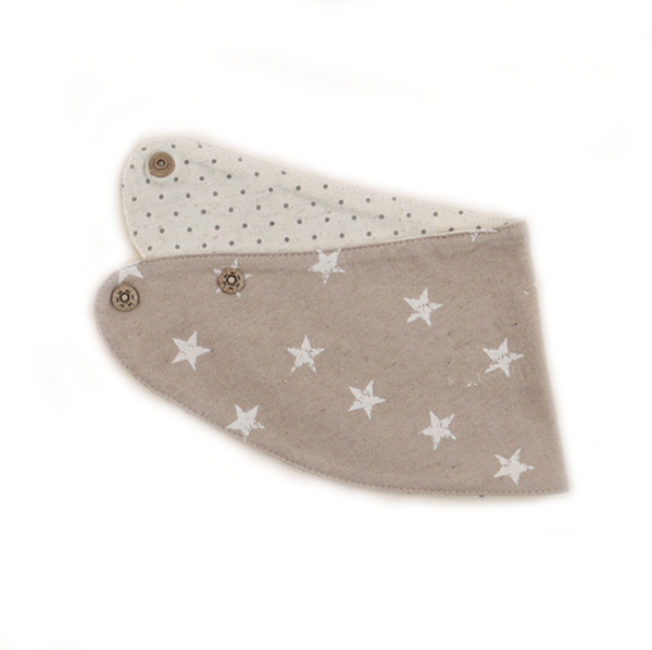 Reversible Beige Banana Scarf Bib with White Stars for Baby Boys and Girls - Bonjour Bear