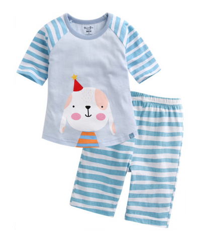 Toddler Girl's and Boy's Puppy Birthday 3/4 Sleeve Pajamas - Bonjour Bear 12M to 3T