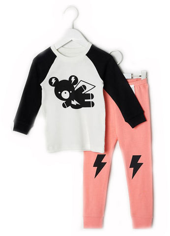Toddler Girl's Superhero Bear Long Sleeve Pajamas - Bonjour Bear 2T to 3T