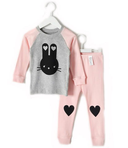 Pink and Gray Bunny Love Long Sleeve Pajamas for Toddler Girls 12M to 3T - Bonjour Bear