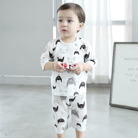 White 3/4 Sleeve Thin Lightweight Korean Pajamas with Black Cat Print for Baby and Toddler Boys and Girls 6 Months to 2 Years - Bonjour Bear