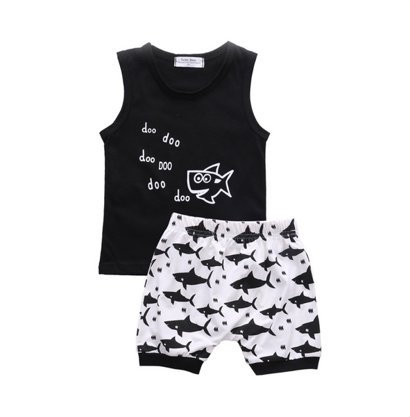 Baby and Toddler Shark Sleeveless Tank and Shorts Set - Bonjour Bear 6M to 24M