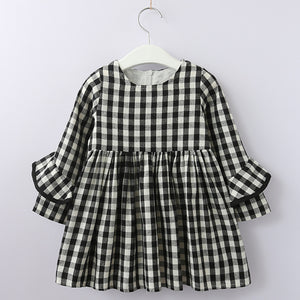 Toddler Girl Black and White Checkered Gingham Long Sleeve Dress - Bonjour Bear 3T to 5T