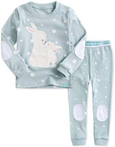 Toddler Girl's Baby Blue Mommy and Baby Bunny Rabbit Long Sleeve Korean Pajamas - Bonjour Bear 12M to 5T