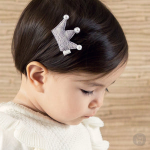 Bling Crown Gray Hair Pin for Baby and Toddler Girls - Bonjour Bear