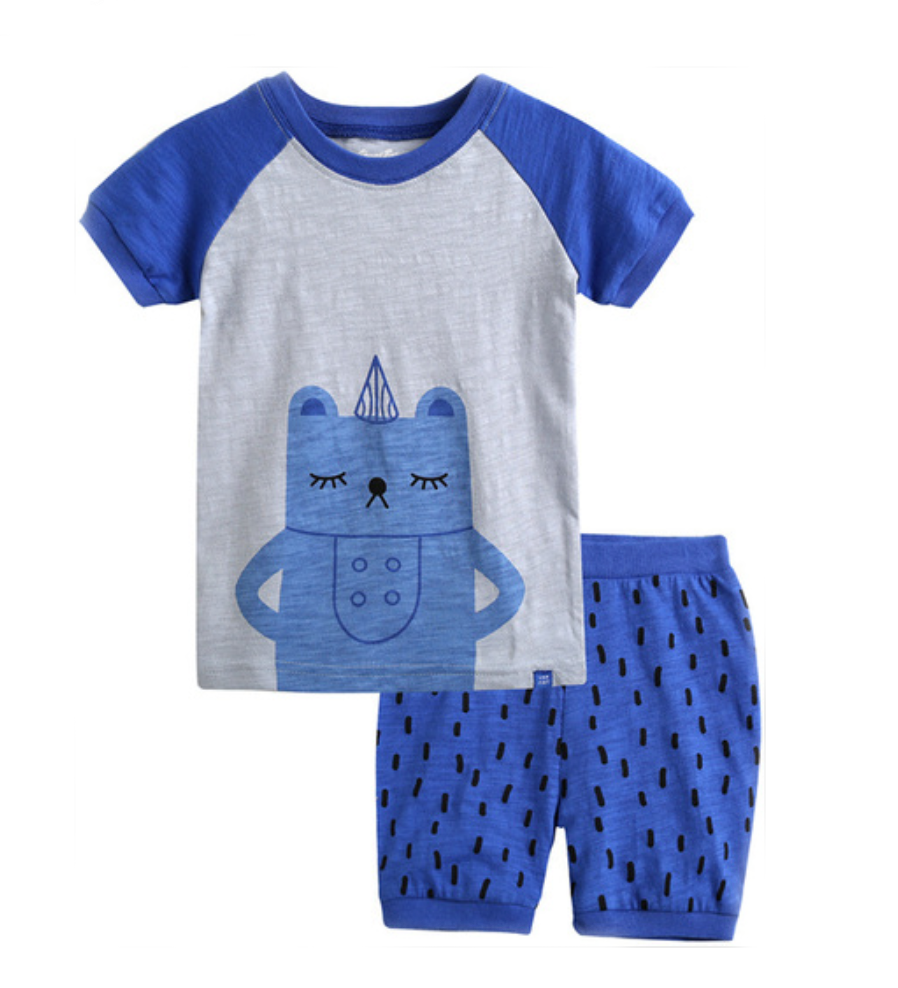 Gray and Blue Bear Short Sleeve Korean Pajamas for Toddler Boys 1-3 Years - Bonjour Bear