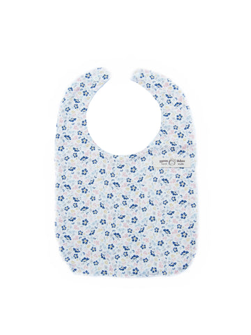 Blue Camellia Flower Bib for Baby Girls - Bonjour Bear