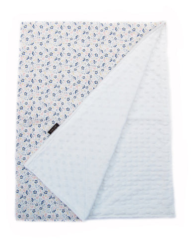 Blue Camellia Flowers Cotton and Microfiber Warm Baby Blanket - Bonjour Bear