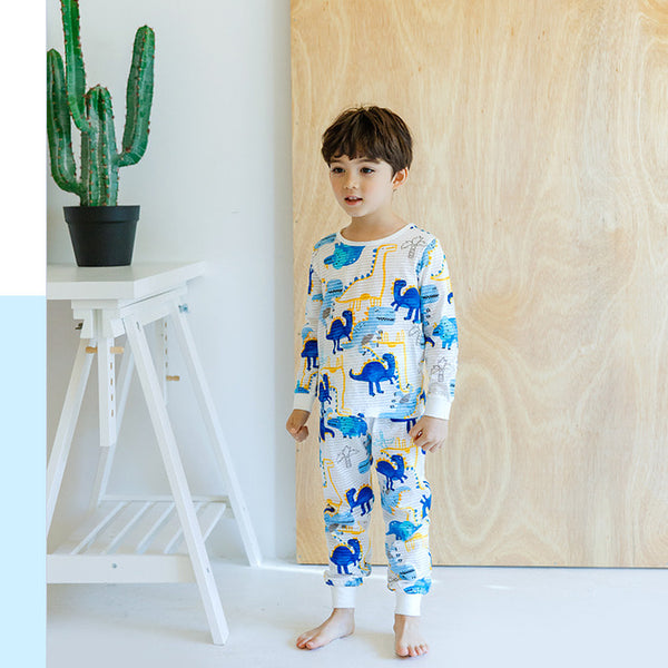 Blue Dinosaur Thin Lightweight Long Sleeve Korean Pajamas for Toddler Boys - Bonjour Bear