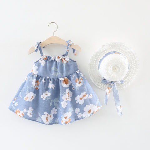 Blue Floral Sleeveless Dress for Baby and Toddler Girls 6 Months to 2 Years - Bonjour Bear