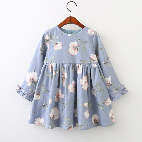 Blue Floral Long Sleeve Dress for Toddler Girls 3-5 Years - Bonjour Bear