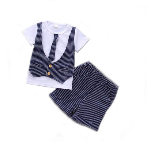 Baby Toddler Boy Blue Pinstriped Suit T-shirt Short Set - Bonjour Bear 12M to 4T