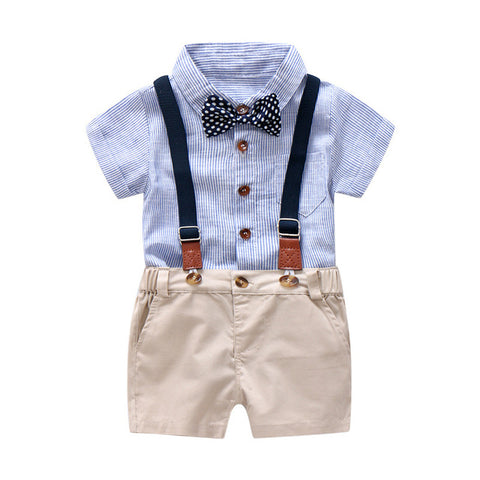 Blue and Khaki Bow Tie Suspender Set for Baby and Toddler Boys 6 to 24 Months - Bonjour Bear