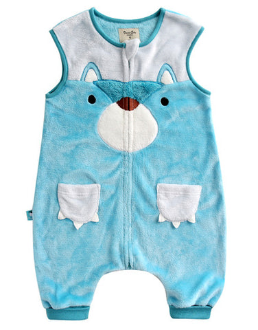 Infant Baby Boy Microfiber Bear Face Blue Sleepsack - Bonjour Bear 12M to 2T