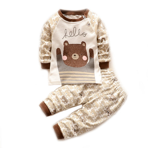 Brown Bear Hello Long Sleeve Top and Pants Set for Baby and Toddler Boys 6 Months to 3 Years- Bonjour Bear