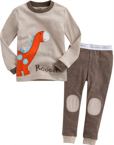Brown Dinosaur Long Sleeve Pajamas for Toddler Boys 12M to 5T - Bonjour Bear