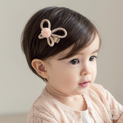 Beige Bufflen Butterfly with Pink Pom Pom Hairpin for Baby and Toddler Girls - Bonjour Bear