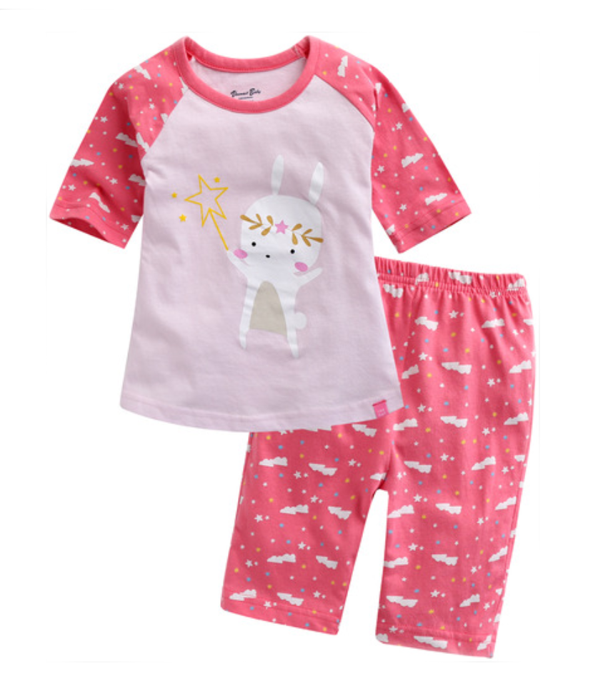 Pink Fairy Bunny Rabbit Lightweight 3/4 Sleeve Korean Pajamas for Toddler Girls 12M-3T - Bonjour Bear