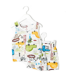 Car World Thin Lightweight Summer Sleeveless Korean Pajamas for Toddler Boys 12M-5T - Bonjour Bear