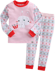 Toddler Girl's Pink Carrot Bunny Rabbit Long Sleeve Korean Pajamas 12M to 5T - Bonjour Bear