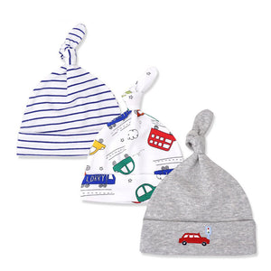 Newborn Baby Boy's Cars Blue Stripe Gray Baby Beanie Hat Set 0-6M - Bonjour Bear