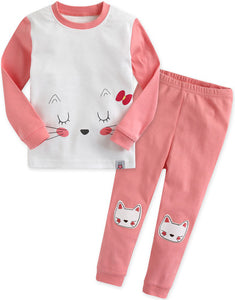 Toddler Girl's Pink Cat and Me Long Sleeve Korean Pajamas 12M to 5T - Bonjour Bear