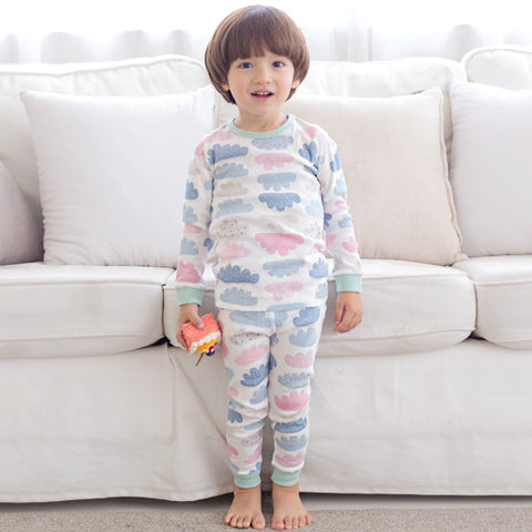 Colorful Clouds Long Sleeve Korean Pajamas for Toddler Boys and Girls 12M-2T - Bonjour Bear