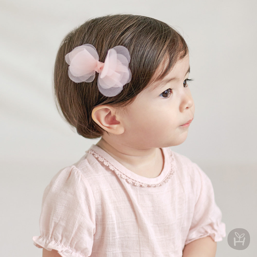 Toddler Baby Girl's Coenne Pink Layered Bow Ribbon Hairpin 3-24M - Bonjour Bear