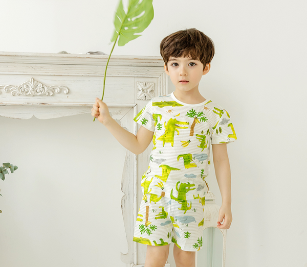 Crocodile Thin Lightweight Summer Short Sleeve Korean Pajamas for Toddler Boys 0-5T - Bonjour Bear
