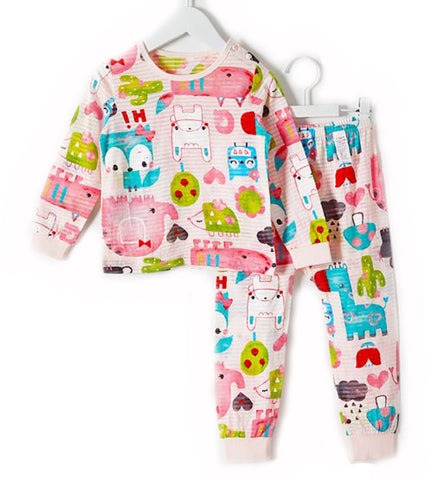 Pink Cute Animals Long Sleeve Pajamas - Bonjour Bear 12M - 3T