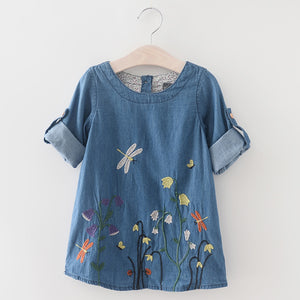 Toddler Girl's Denim Flower Embroidered Short Sleeve Dress 3-5T - Bonjour Bear